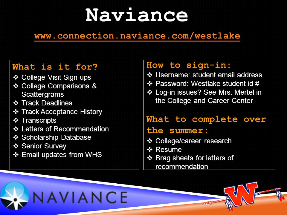 Naviance www.connection.naviance.com/westlake What is it for