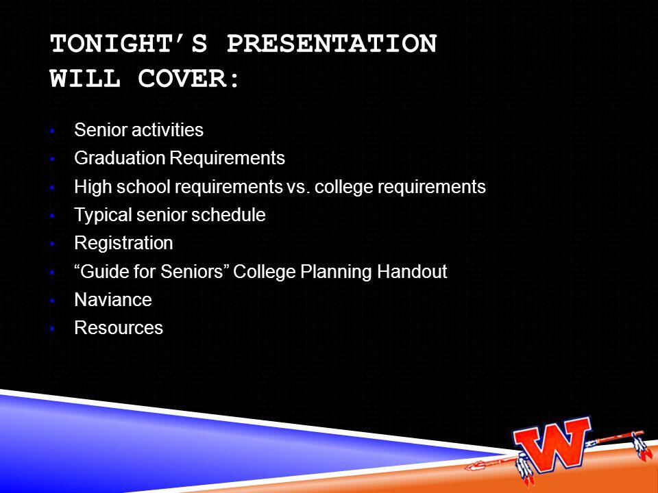 Tonight's presentation will cover:
