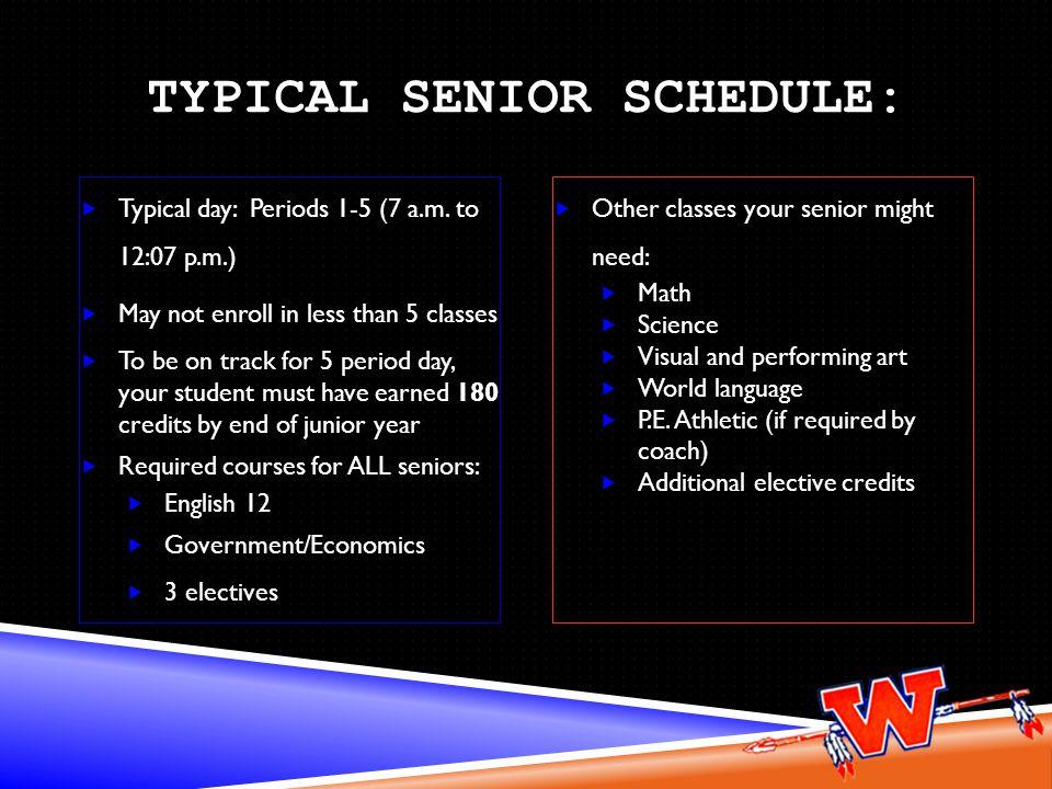 Typical Senior Schedule: