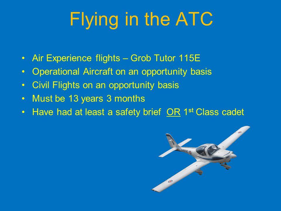 Flying in the ATC Air Experience flights – Grob Tutor 115E