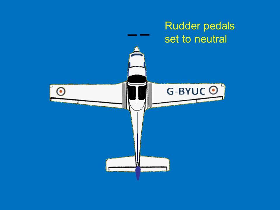 Rudder pedals set to neutral