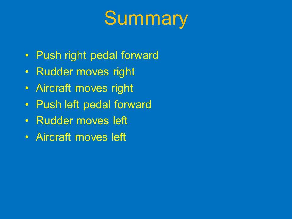 Summary Push right pedal forward Rudder moves right