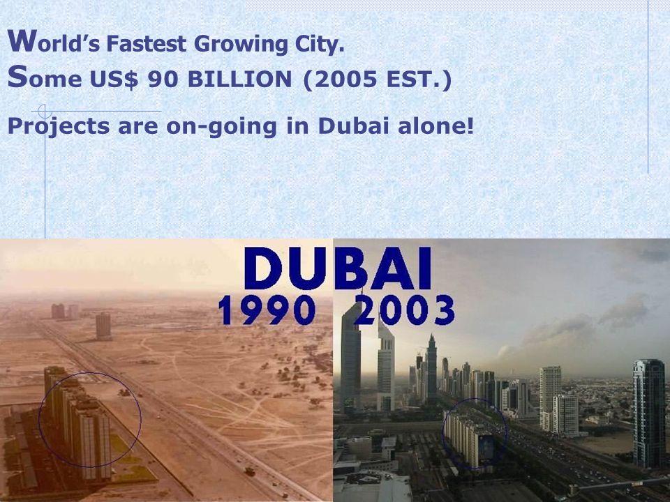 World's Fastest Growing City. Some US$ 90 BILLION (2005 EST