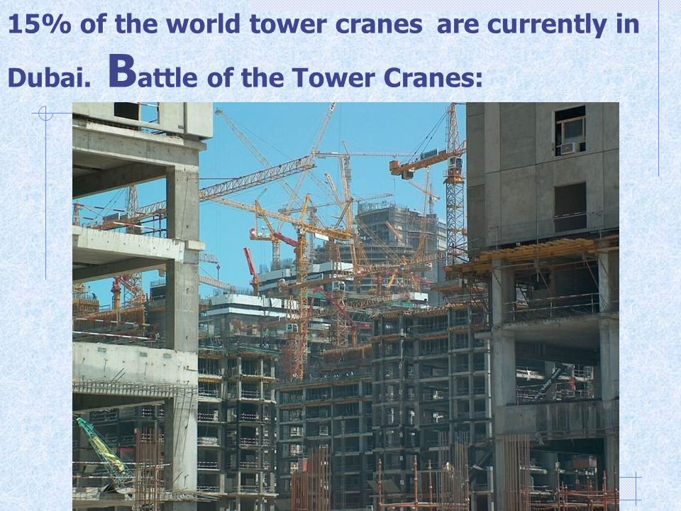 15% of the world tower cranes are currently in Dubai