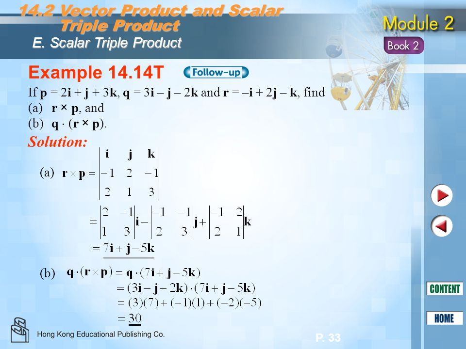 Example 14.14T 14.2 Vector Product and Scalar Triple Product Solution: