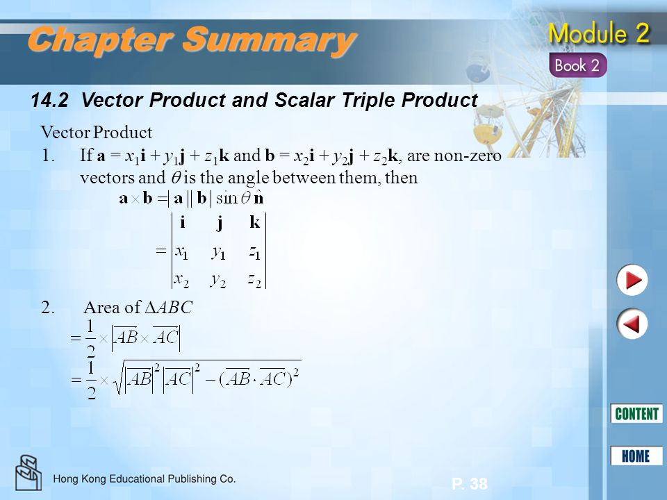 Chapter Summary 14.2 Vector Product and Scalar Triple Product