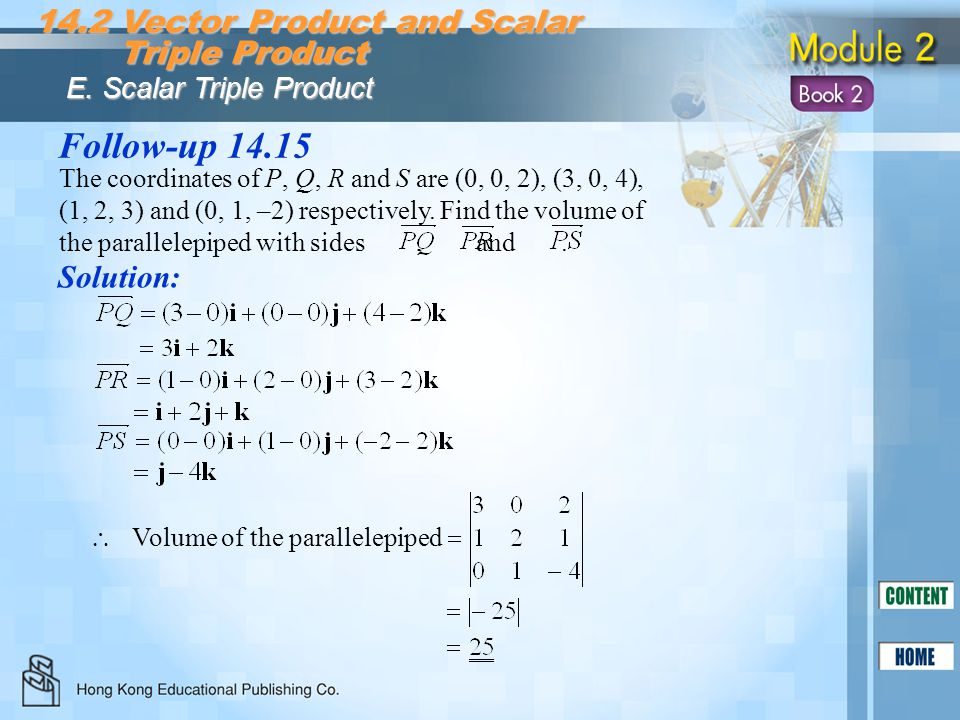 Follow-up 14.15 14.2 Vector Product and Scalar Triple Product