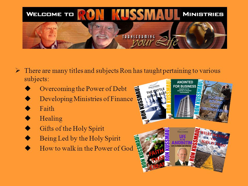 There are many titles and subjects Ron has taught pertaining to various subjects: