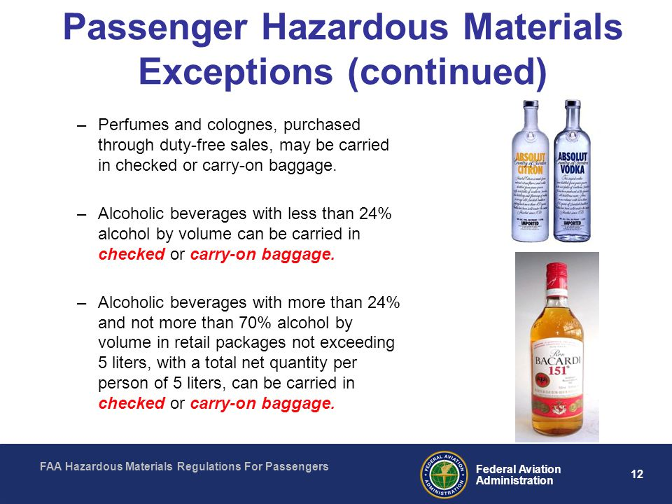 Passenger Hazardous Materials Exceptions (continued)