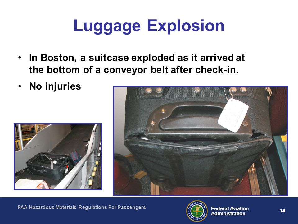 Luggage Explosion In Boston, a suitcase exploded as it arrived at the bottom of a conveyor belt after check-in.