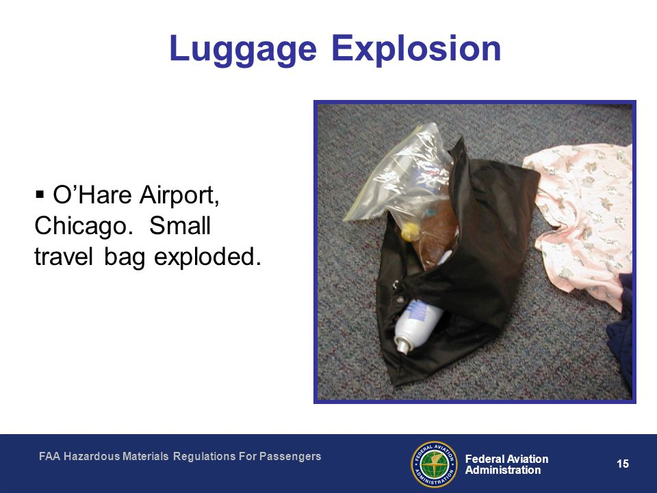 Luggage Explosion O'Hare Airport, Chicago. Small travel bag exploded.
