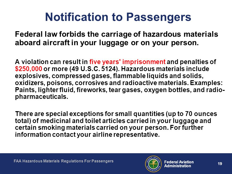 Notification to Passengers