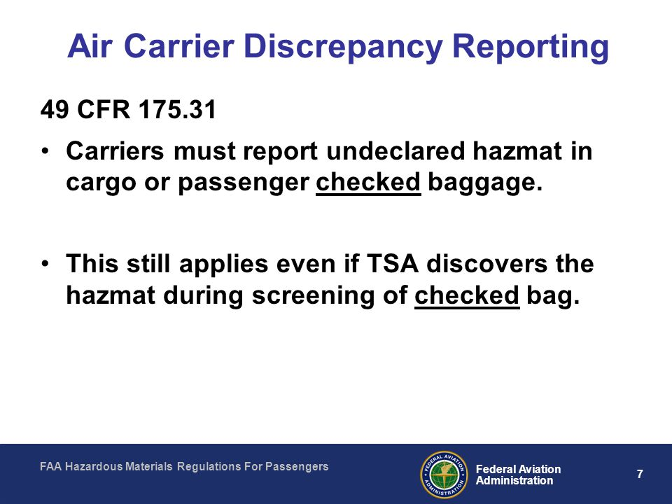 Air Carrier Discrepancy Reporting
