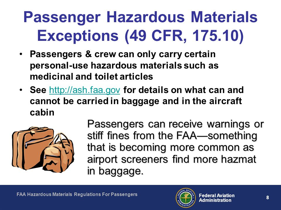Passenger Hazardous Materials Exceptions (49 CFR, 175.10)