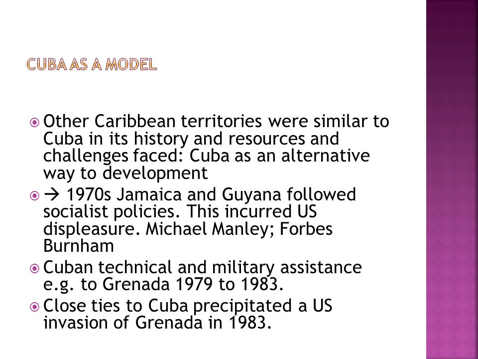 Cuban technical and military assistance e.g. to Grenada 1979 to 1983.