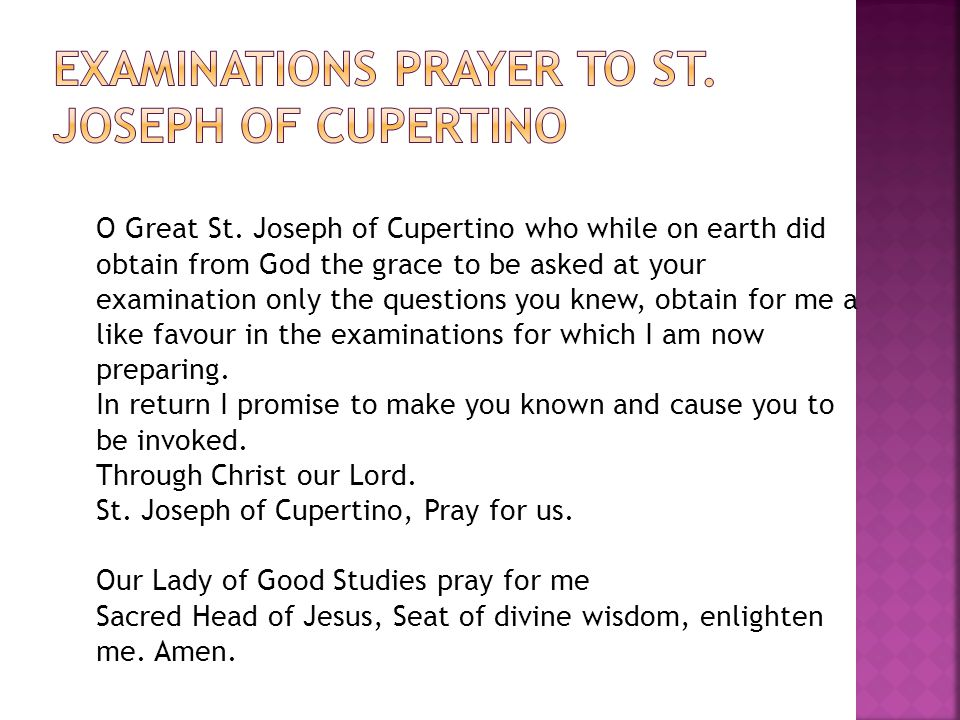 Examinations Prayer to St. Joseph of Cupertino