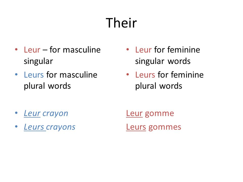 Their Leur – for masculine singular Leurs for masculine plural words