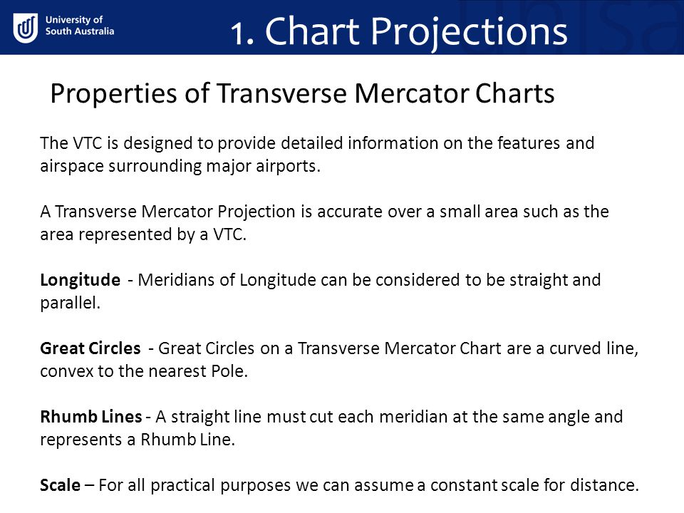 1. Chart Projections Properties of Transverse Mercator Charts