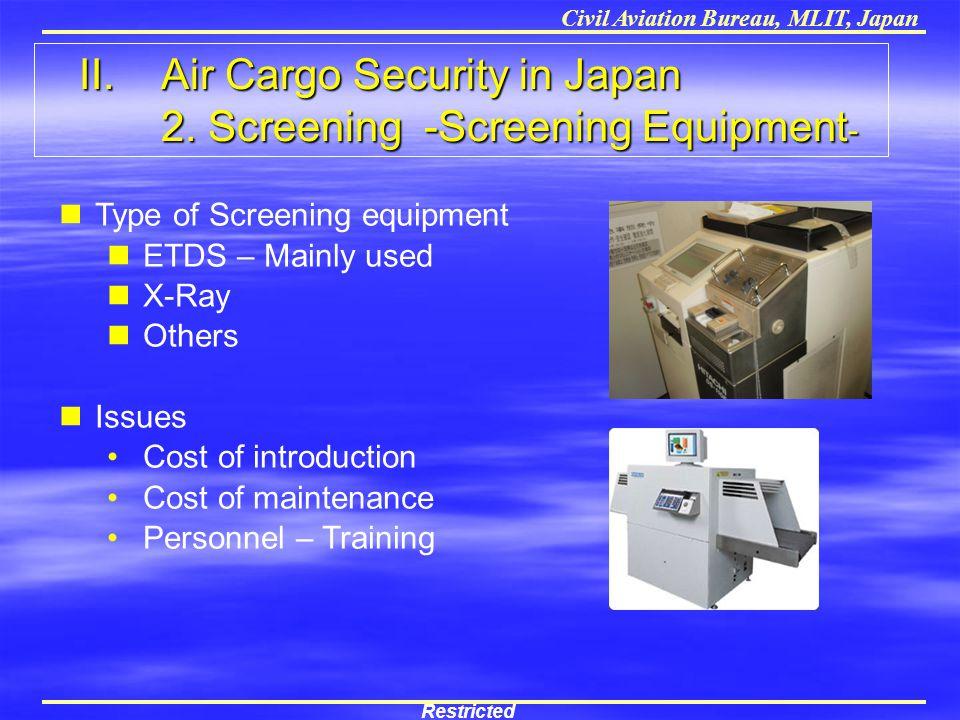 II. Air Cargo Security in Japan 2. Screening -Screening Equipment-
