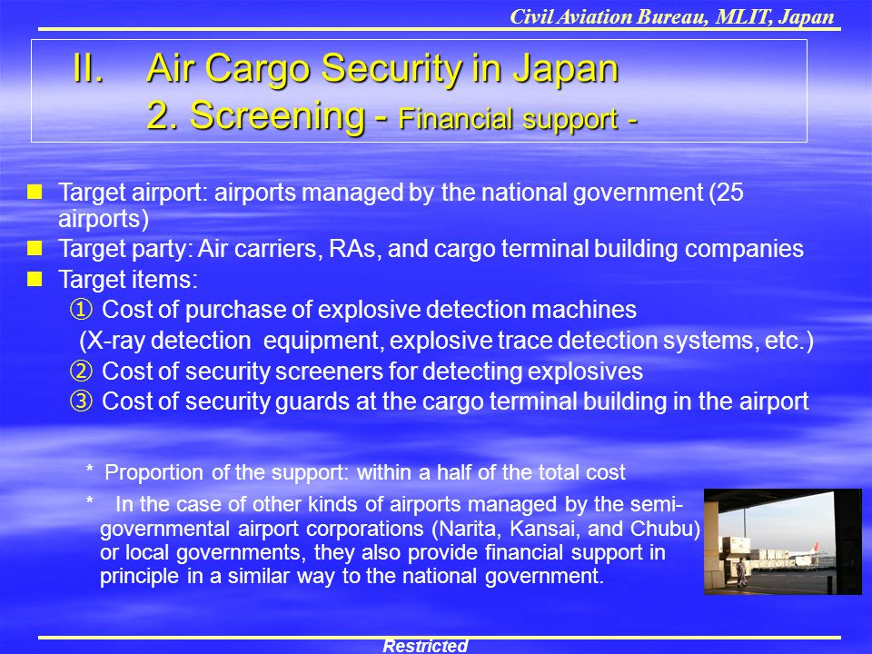 II. Air Cargo Security in Japan 2. Screening - Financial support -
