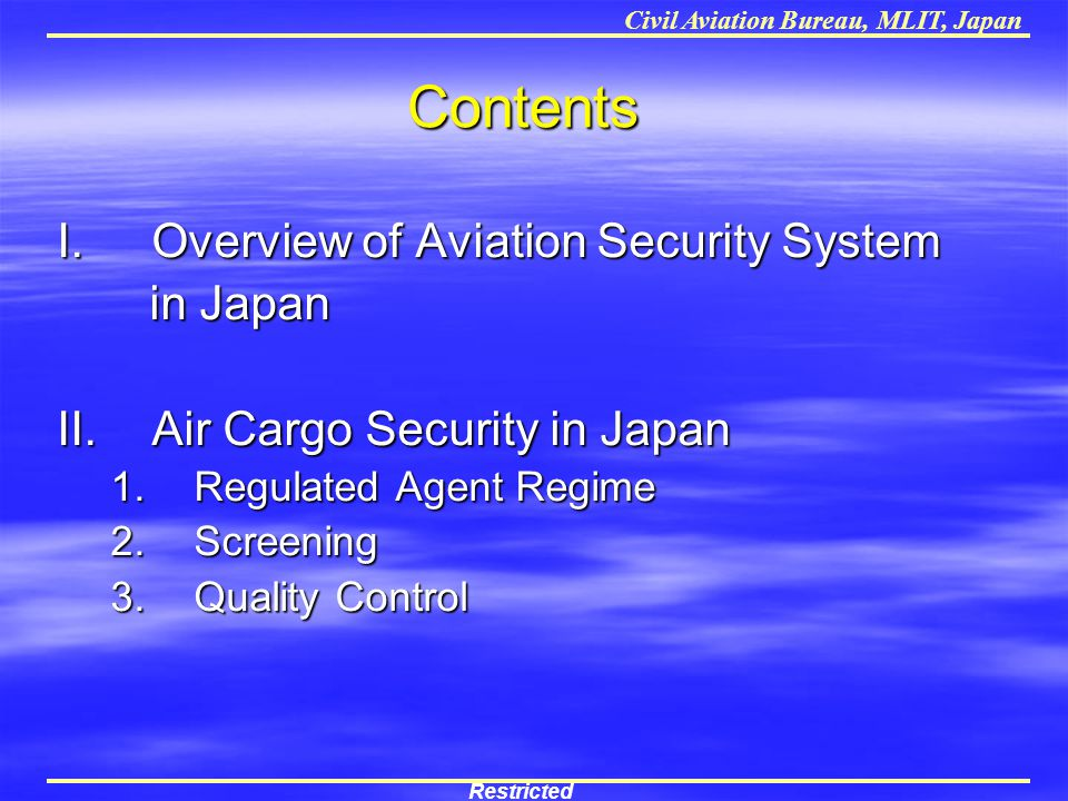 Contents Overview of Aviation Security System in Japan