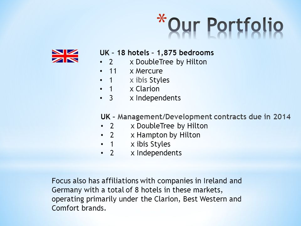 Our Portfolio UK – 18 hotels – 1,875 bedrooms 2 x DoubleTree by Hilton