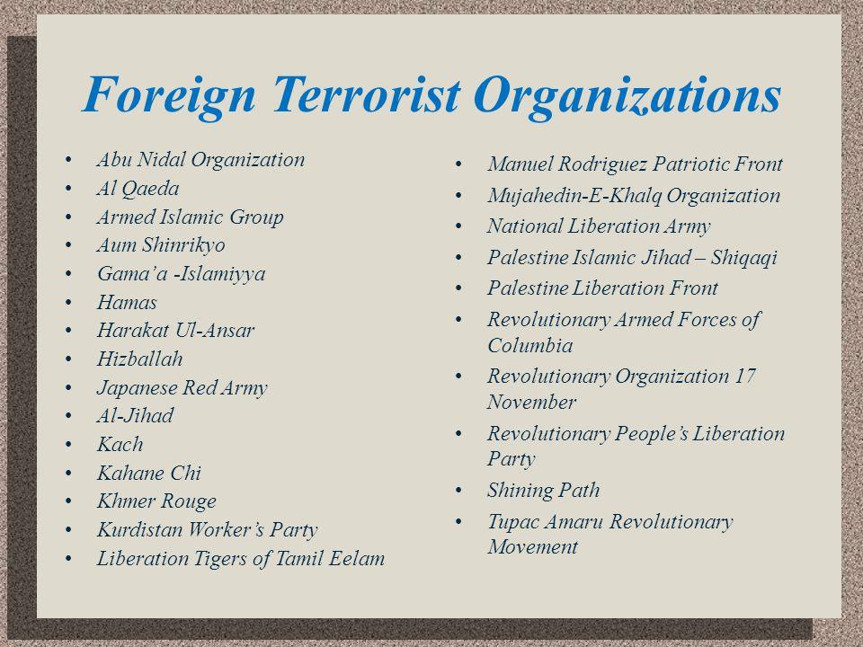 Foreign Terrorist Organizations