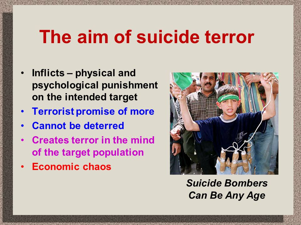 The aim of suicide terror