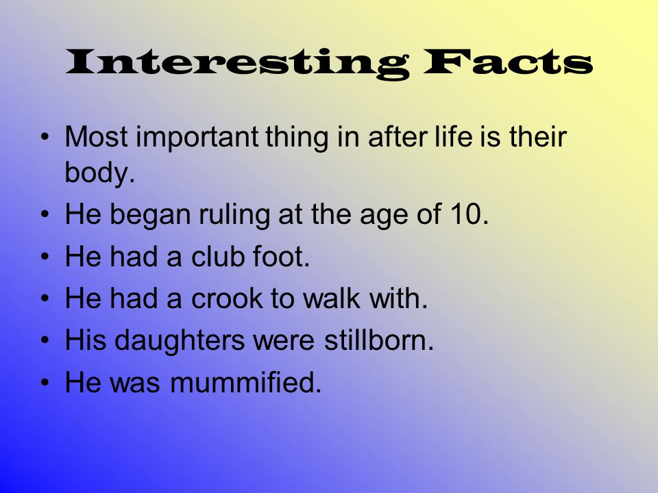Interesting Facts Most important thing in after life is their body.