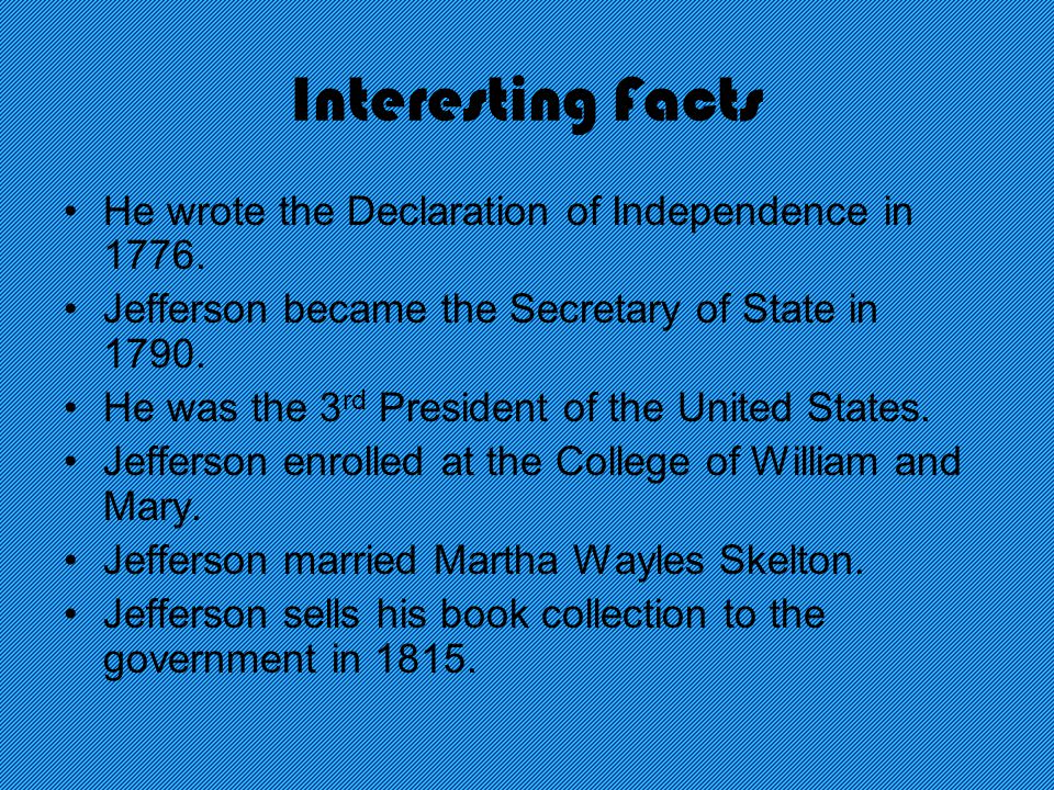 Interesting Facts He wrote the Declaration of Independence in 1776.