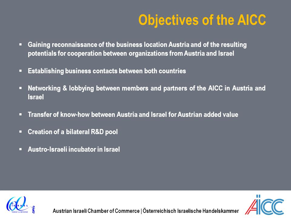 Objectives of the AICC Gaining reconnaissance of the business location Austria and of the resulting.