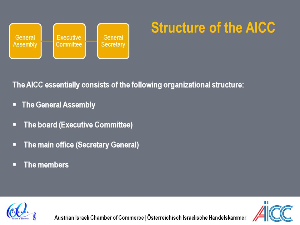 General Assembly Executive Committee. General Secretary. Structure of the AICC.