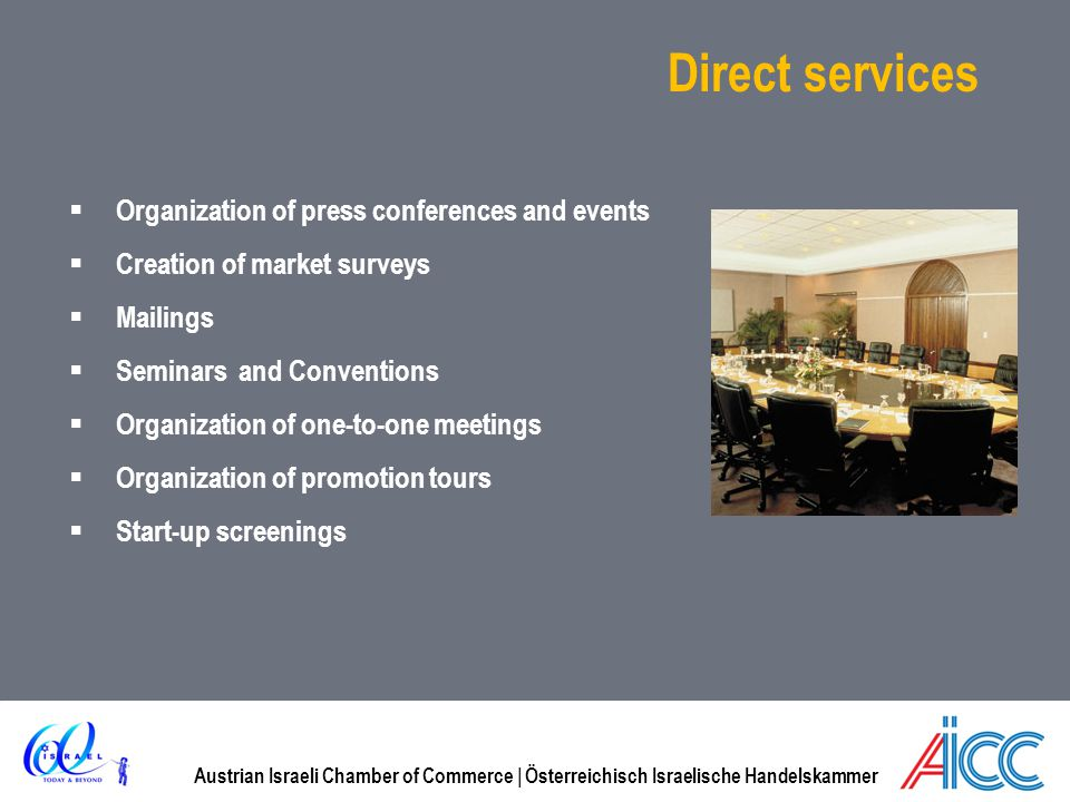 Direct services Organization of press conferences and events
