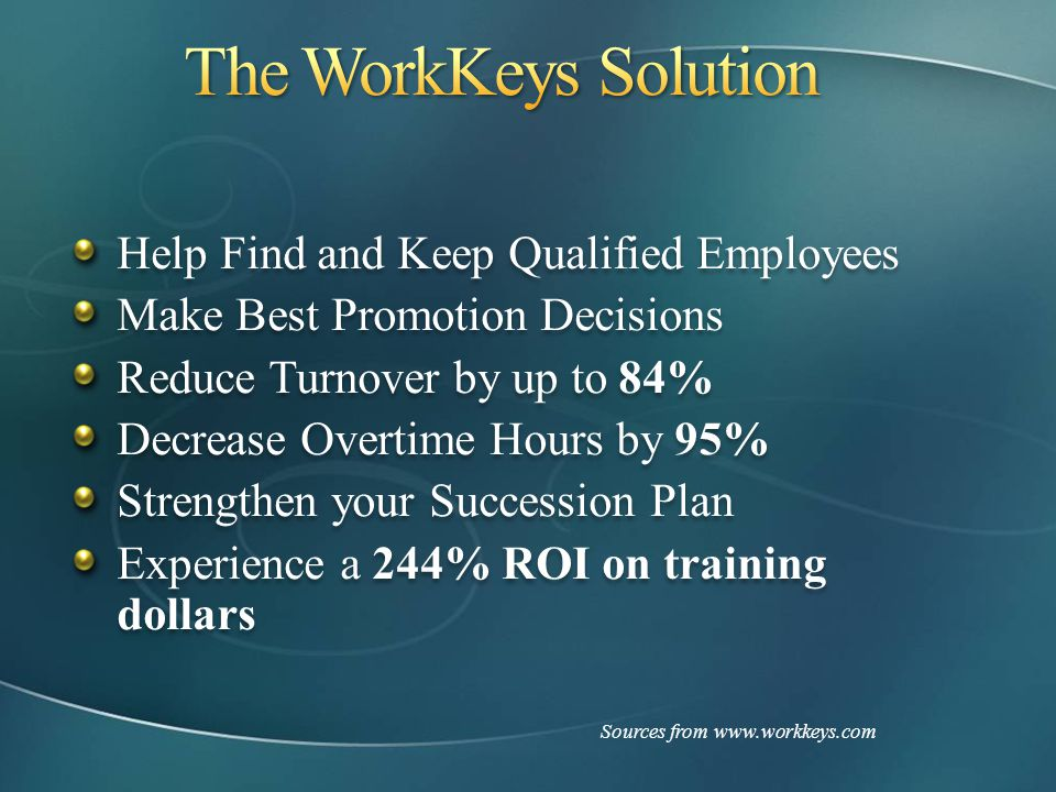 The WorkKeys Solution Help Find and Keep Qualified Employees