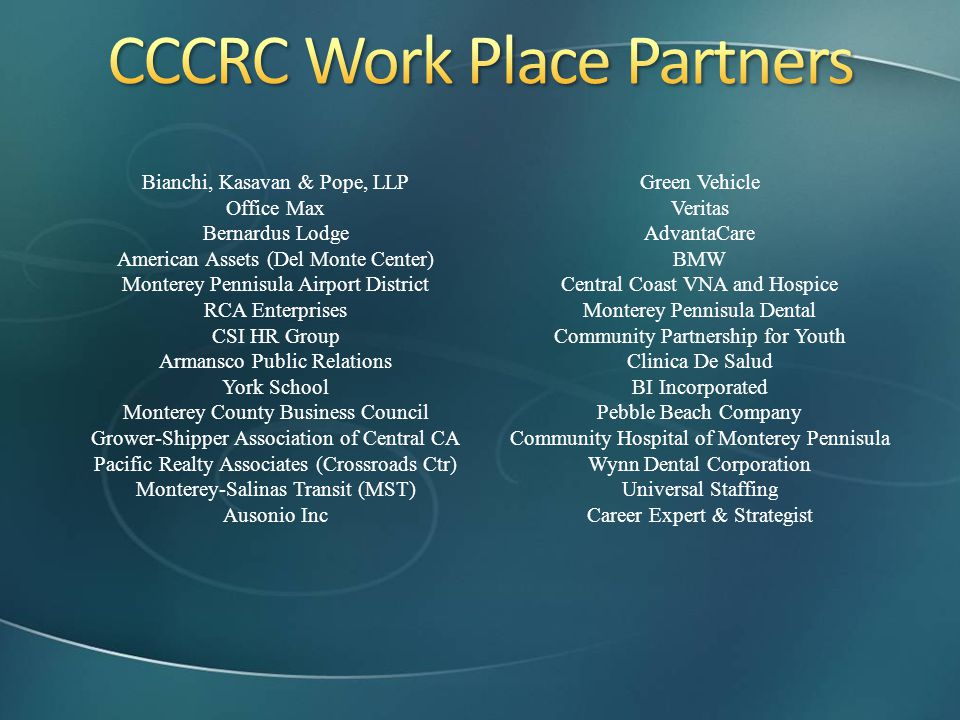 CCCRC Work Place Partners