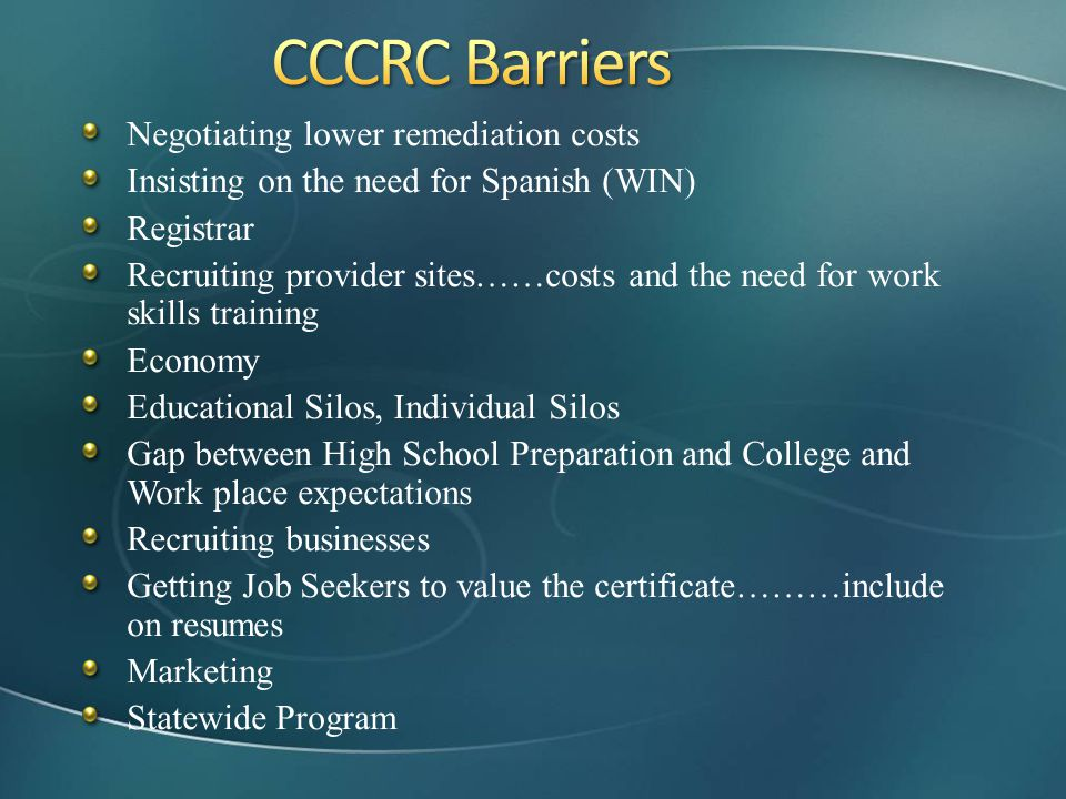 CCCRC Barriers Negotiating lower remediation costs