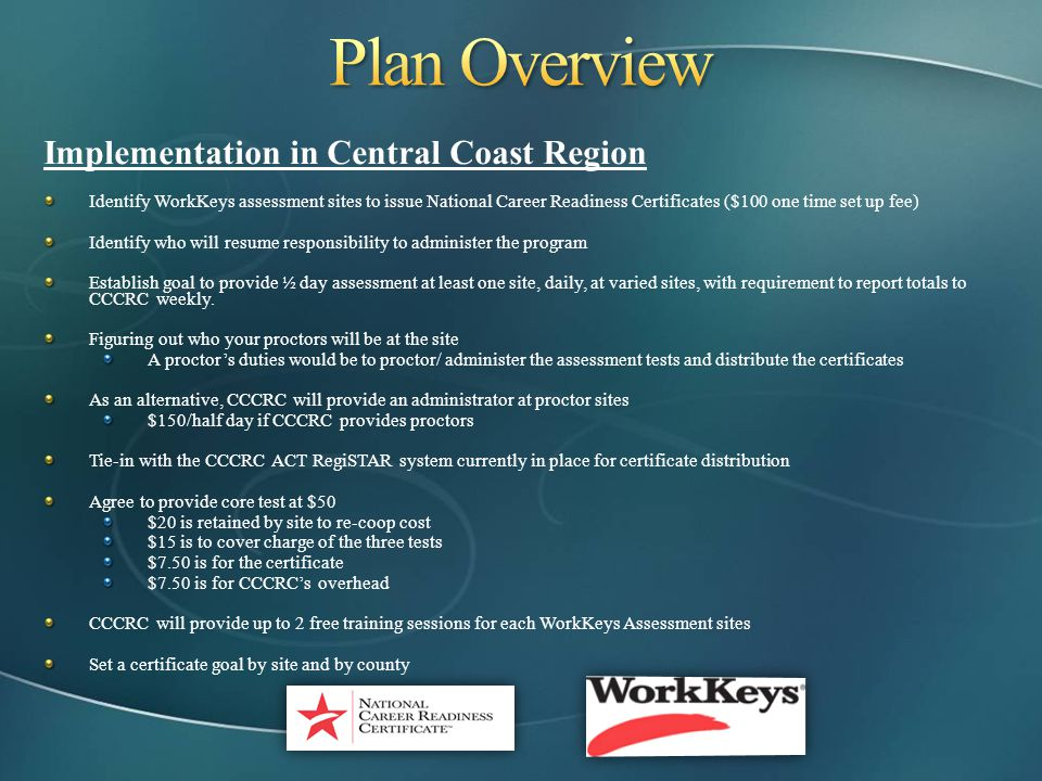 Plan Overview Implementation in Central Coast Region