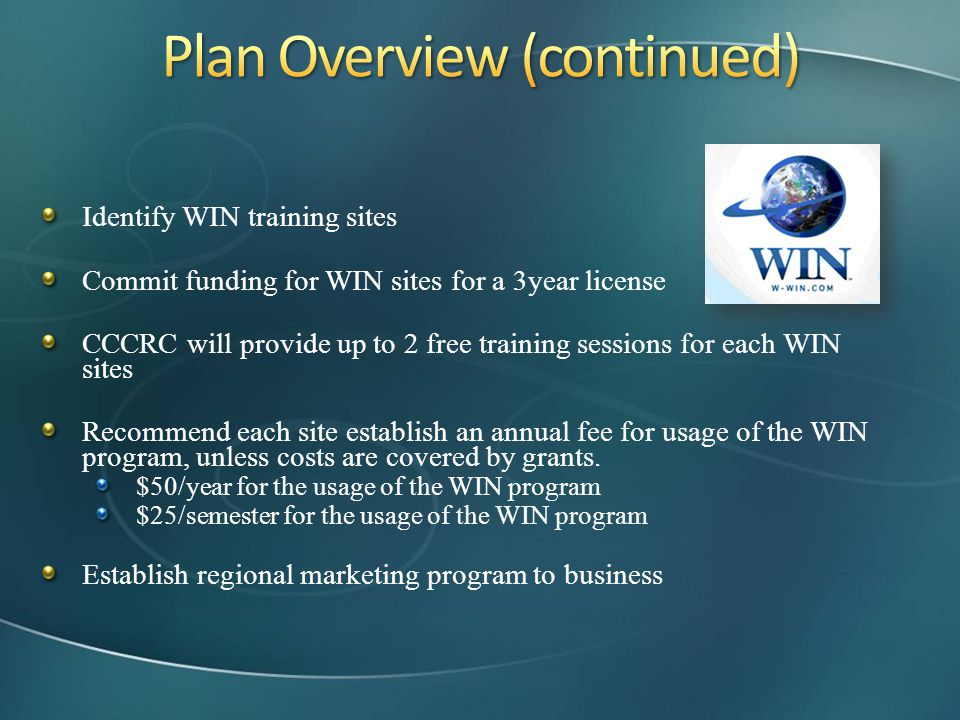 Plan Overview (continued)