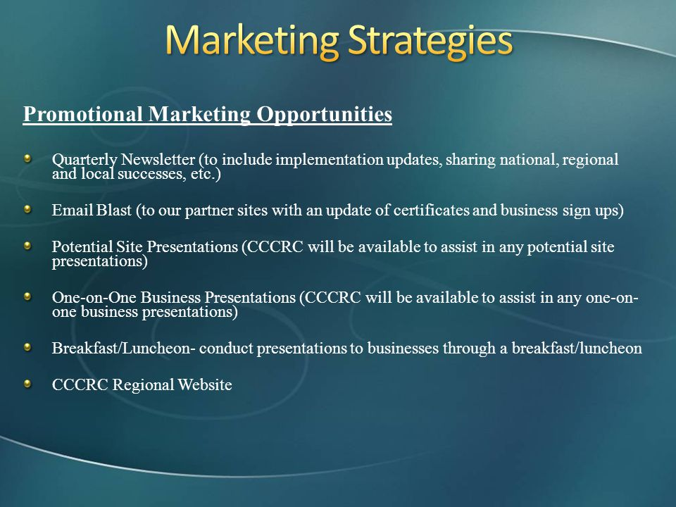 Marketing Strategies Promotional Marketing Opportunities