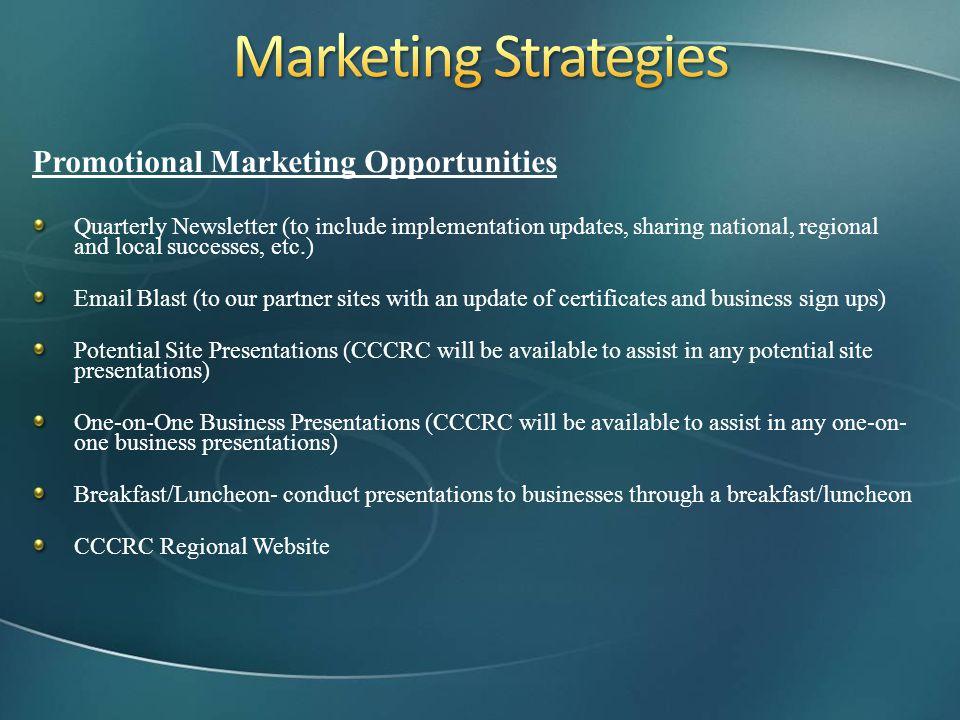 Marketing Strategies Promotional Marketing Opportunities