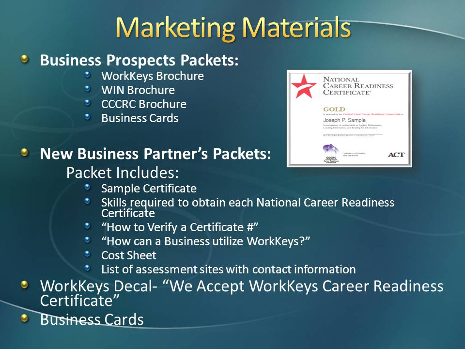 Marketing Materials Business Prospects Packets: