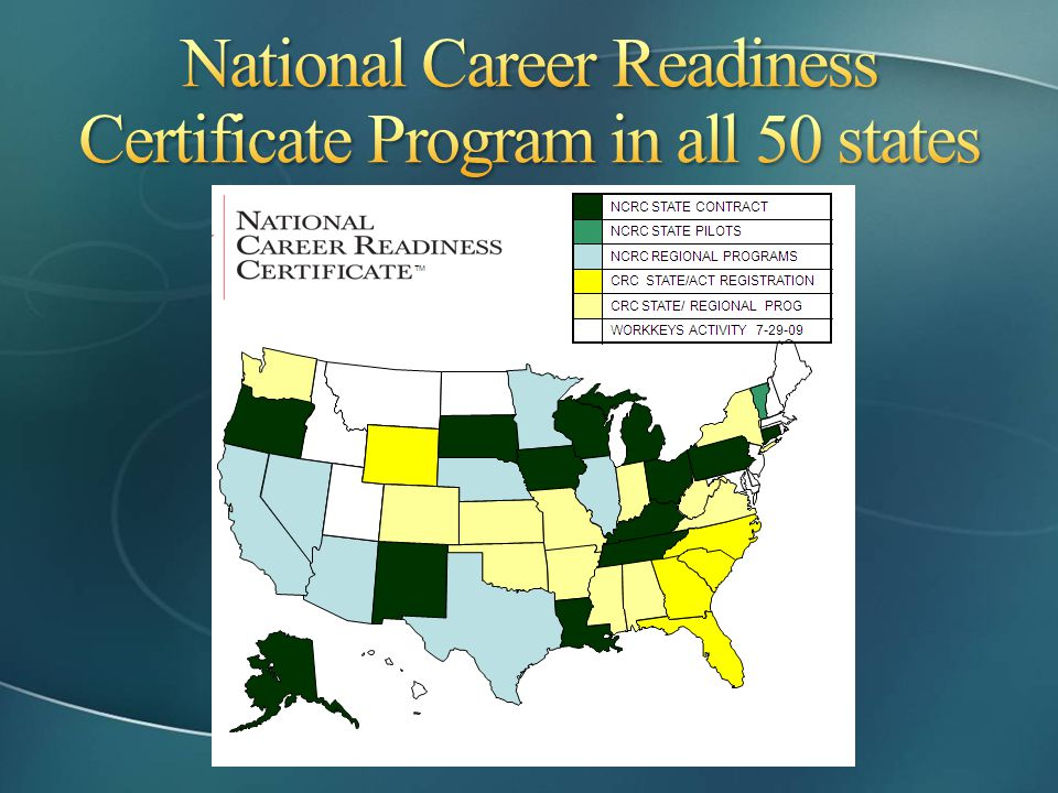 National Career Readiness Certificate Program in all 50 states
