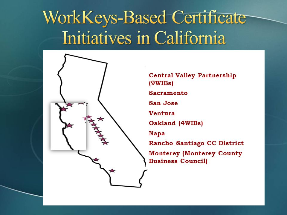 WorkKeys-Based Certificate Initiatives in California