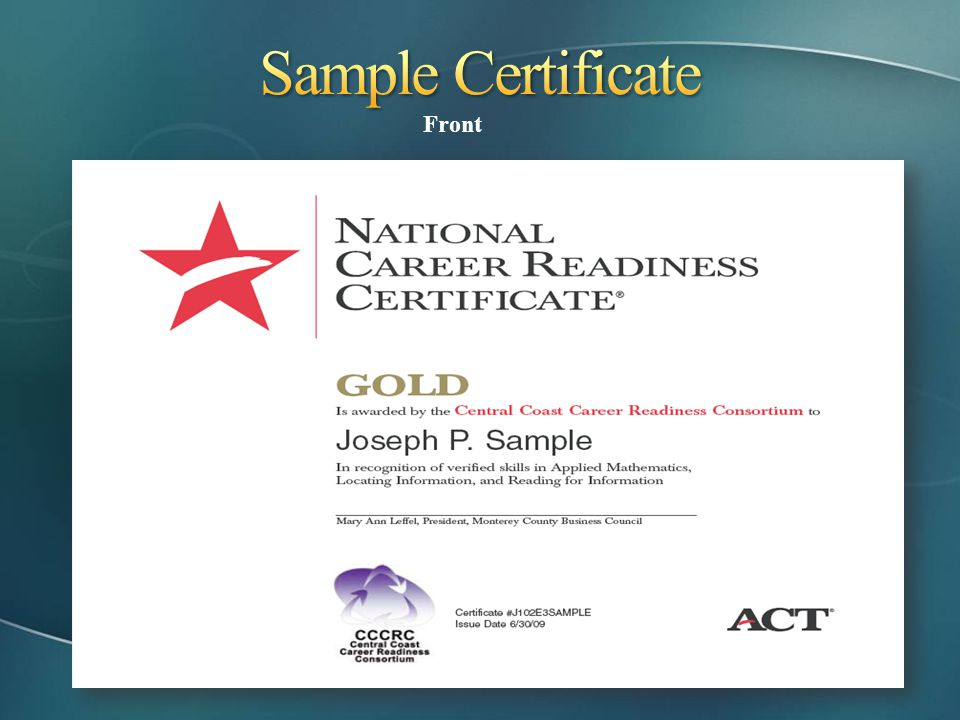 Sample Certificate Front