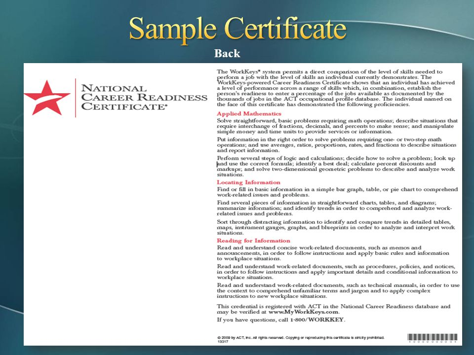 Sample Certificate Back