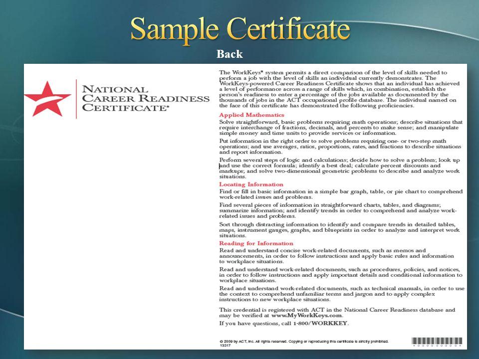 Sample Certificate Back