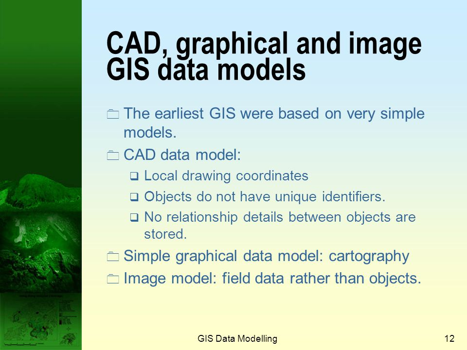 CAD, graphical and image GIS data models