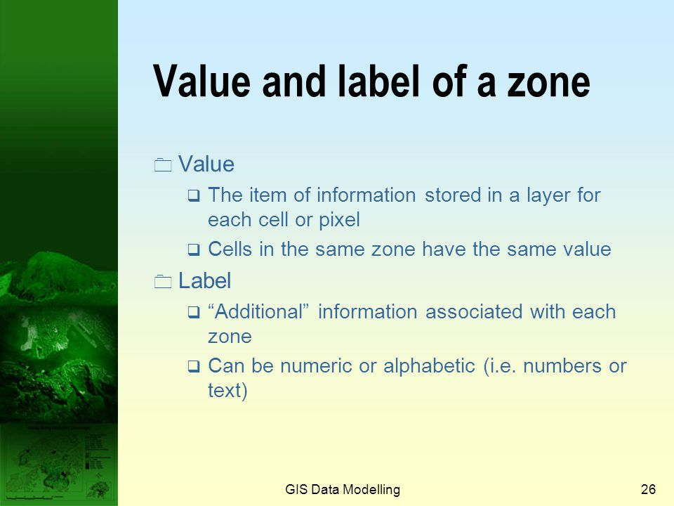 Value and label of a zone