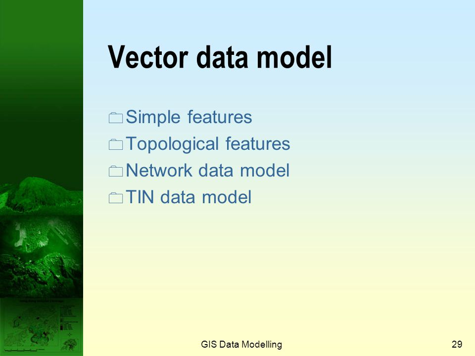 Vector data model Simple features Topological features