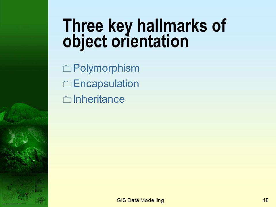 Three key hallmarks of object orientation